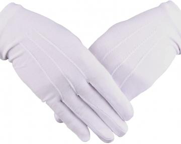 Handschoenen katoen wit gala smoking rokkostuum Dutch Nederlandse regalia maçonniek Vrijmetselarij Vrijmetselaarswinkel Loge Benelux